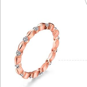 18k rose gold plated sterling silver diamond ring